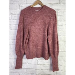 Leith Juliet Sleeve Sweater Ribbed 'Red Chili'